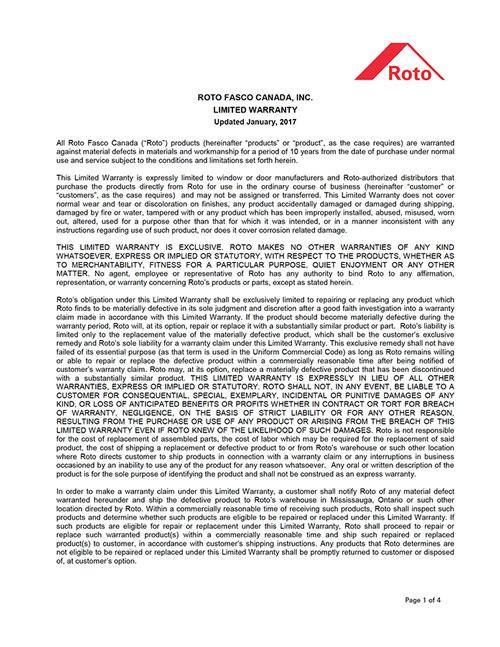 Roto Fasco Warranty Image