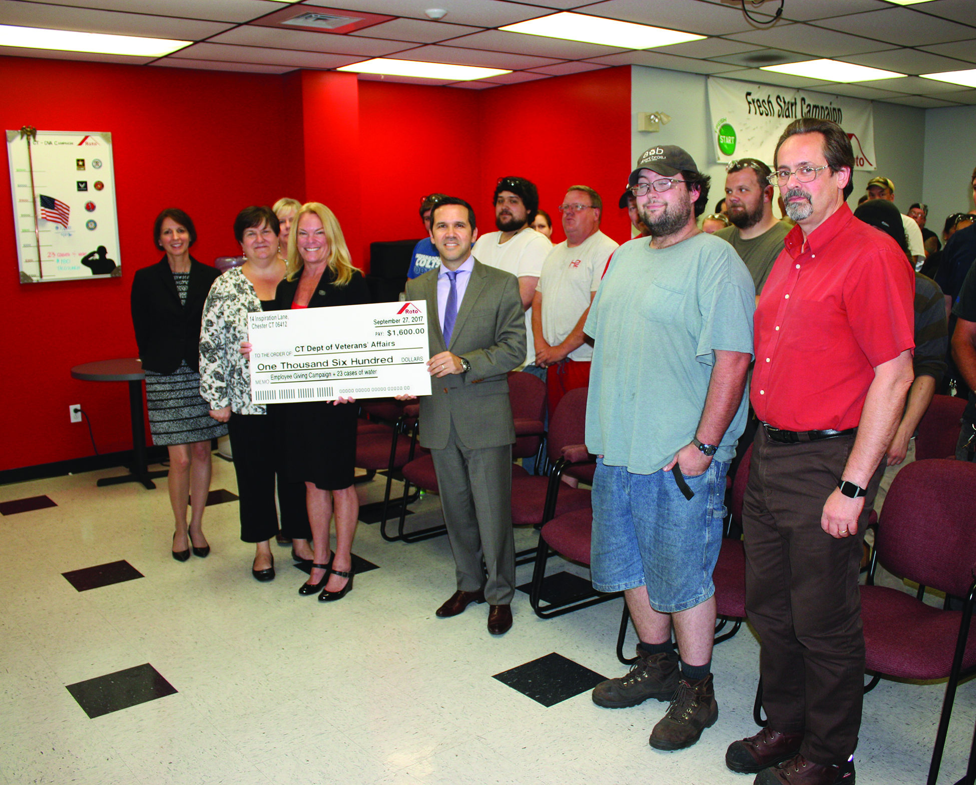 roto frank of america presents check to ct dept of. Black Bedroom Furniture Sets. Home Design Ideas